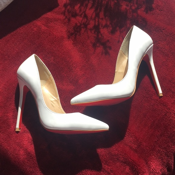 White Closed Toe Red Pumps